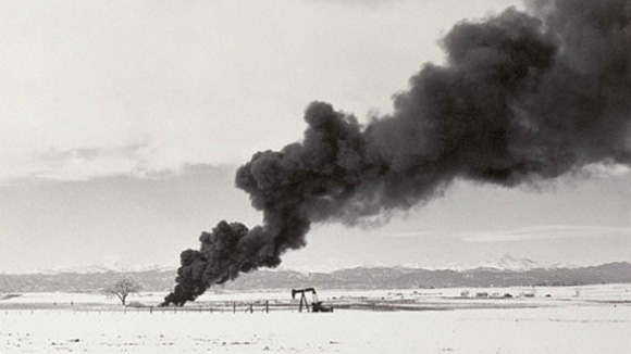 Burning Oil Sludge North of Denve (Robert Adams, 1973)